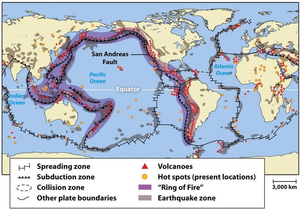 spatial relationship between earthquakes and volcanoes map