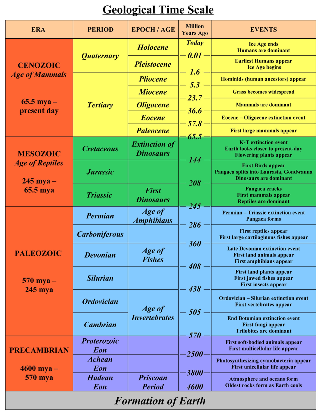 Geologic Time Scale 8th Grade Science